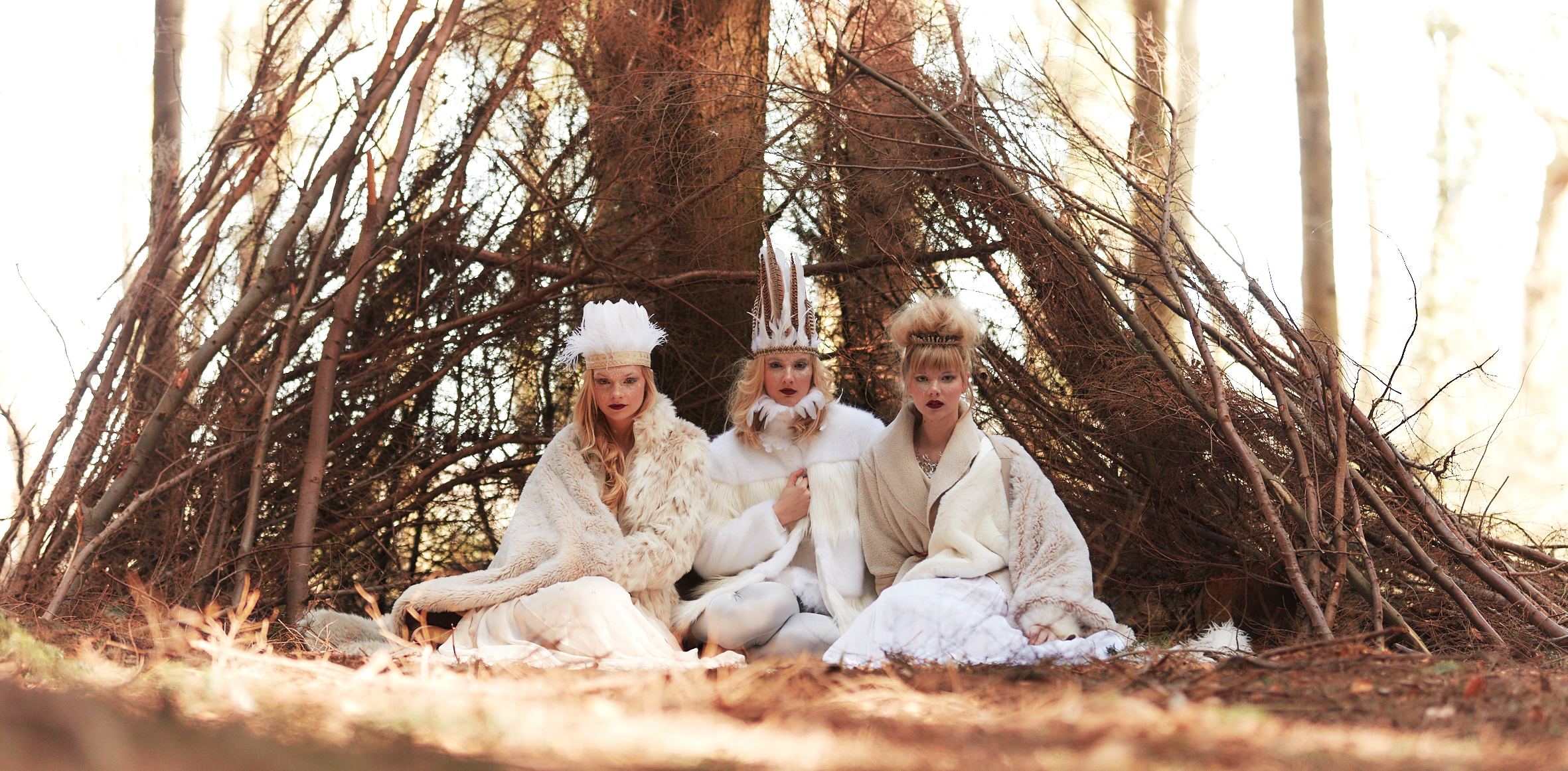 Emily Smith, Meredith Pickett and Georgia B in the woods for Sandra Reynolds Model Agency